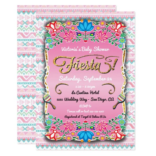 Floral Mexican Fiesta Baby Shower Card