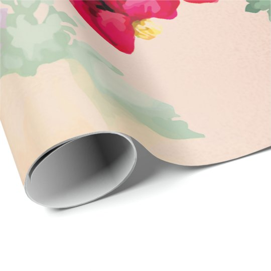 Floral Mint Garden Gold Pink Green Thunder-Bird Wrapping