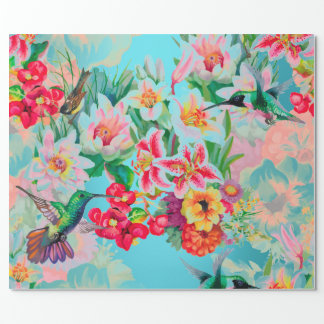 Floral Mint Garden Turquoise Pink Pastel Bird Wrapping Paper