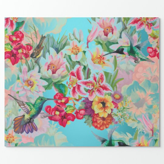 Floral Mint Garden Turquoise Pink Pastel Bird Wrapping