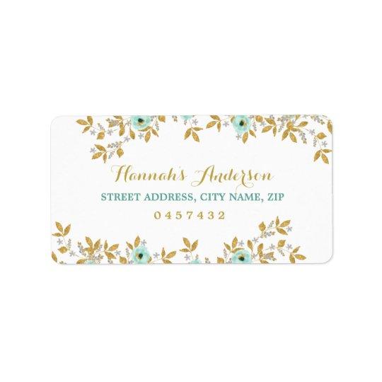 Floral Mint Gold Address Labels