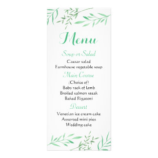 Floral Mint Green Menu Leaves Rustic Wedding