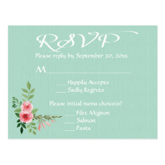 Floral Mint Green RSVP Pink Rose Flowers Wedding Postcard