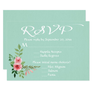 Floral Mint Green RSVP Pink Roses Flowers Wedding 9 Cm X 13 Cm Invitation Card
