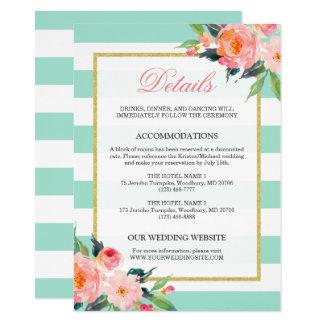 Floral Mint Green Stripes Gold Wedding Details Card
