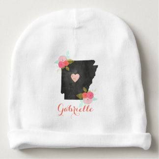 Floral Monogram Arkansas State Moveable Heart Girl Baby Beanie