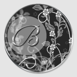 Floral Monogram B Wedding Envelope Seal Sticker