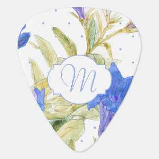 Floral Monogram Bluebells Flowers Guitar Picks