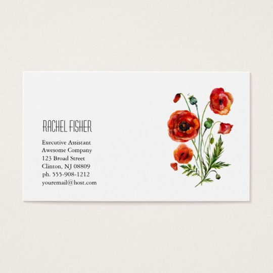 Floral Monogram Business Card Red Poppy Flowers
