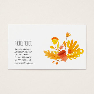 Floral Monogram Business Card Tan Orange
