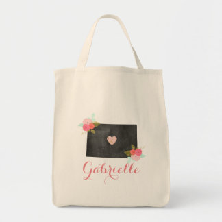 Floral Monogram Colorado State & Moveable Heart Tote Bag