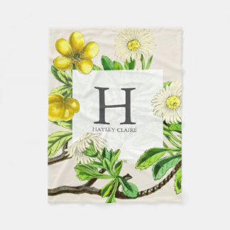 Floral Monogram Daisies Initial Greenery Fleece Blanket