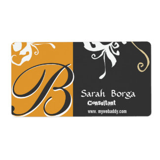 Floral Monogram Daylily Black and Gold Shipping Label
