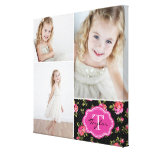 Floral Monogram Girly Photo Collage Canvas Prints