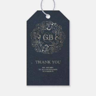 Floral Monogram Gold and Navy Vintage Wedding Gift Tags
