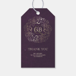 Floral Monogram Gold and Plum Vintage Wedding Gift Tags