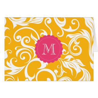 Floral Monogram Note Card Orange Pink