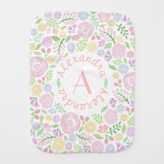 Floral Monogram Pastel Baby Girl Burp Cloth