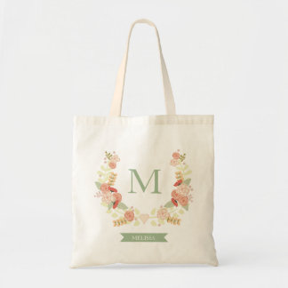 Floral Monogram personalized tote Budget Tote Bag