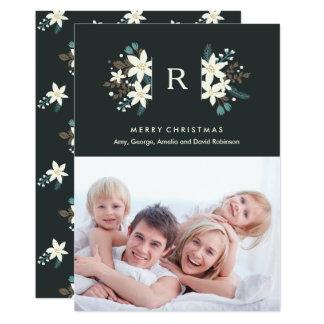 Floral Monogram Photo Merry Christmas Card 13 Cm X 18 Cm Invitation Card