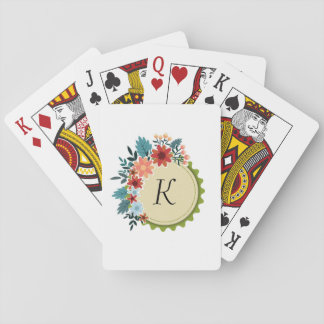 Floral  Monogram Playing Cards