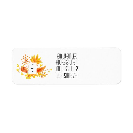 Floral Monogram Return Address Label Fall Flowers