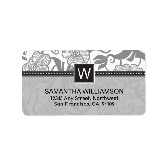 Floral Monogram Return Address Labels (black)
