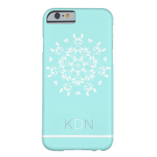 FLORAL MONOGRAM | vintage pattern on cool blue Barely There iPhone 6 Case