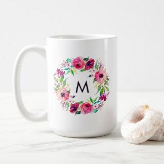 Floral Monogram Watercolor Roses Modern Coffee Mug