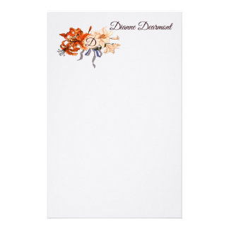 Floral Monogram with your choice of letters Stationery