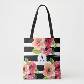 Floral Monogramed Black White Stripes | Tote Bag
