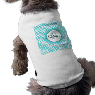 Floral Monogrammed Turquoise Blue Chevron Pattern Sleeveless Dog Shirt