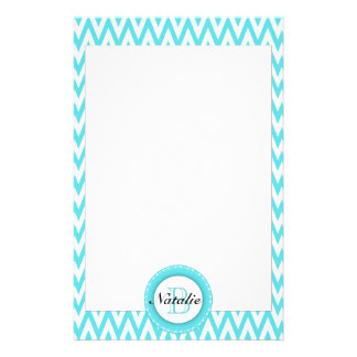Floral Monogrammed Turquoise Blue Chevron Pattern Customized Stationery