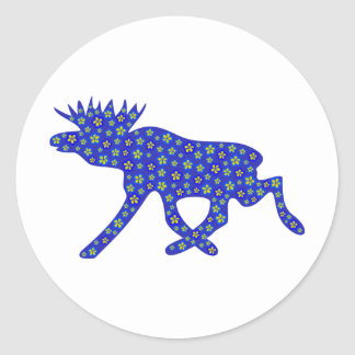 Floral Moose Classic Round Sticker