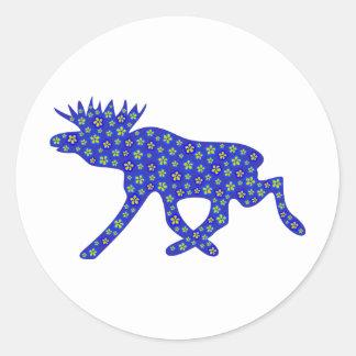 Floral Moose Round Sticker