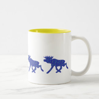 Floral Moose Two-Tone Coffee Mug