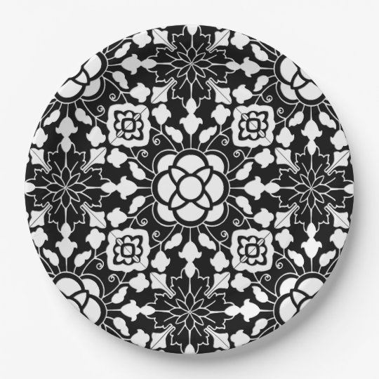 Floral Moroccan Tile, Black and White Paper Plate