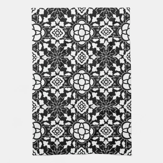 Floral Moroccan Tile, Black and White Tea Towel