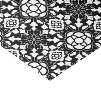 Floral Moroccan Tile, Black and White Tissue Paper
