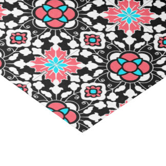 Floral Moroccan Tile, Black, White and Coral Pink Tissue Paper