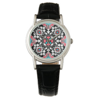 Floral Moroccan Tile, Black, White and Coral Pink Watch