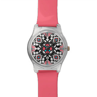 Floral Moroccan Tile, Black, White and Coral Pink Wrist Watches
