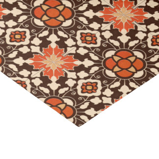 Floral Moroccan Tile, Brown, Rust and Beige Tissue Paper