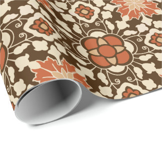 Floral Moroccan Tile, Brown, Rust and Beige Wrapping Paper