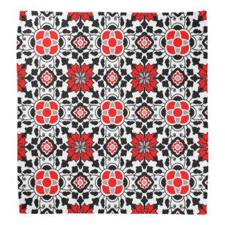 Floral Moroccan Tile, Deep Red, Black  and White Bandana