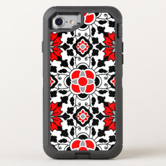 Floral Moroccan Tile, Deep Red, Black  and White OtterBox Defender iPhone 7 Case