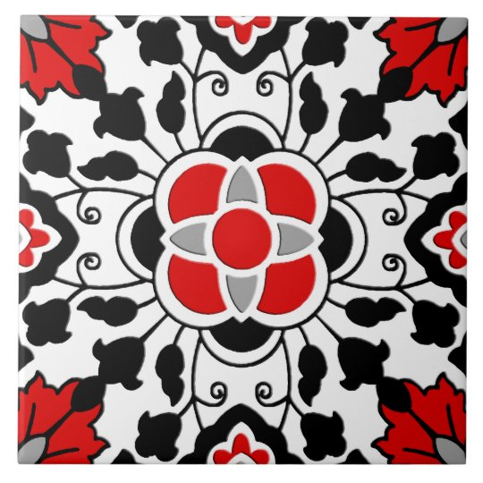 Floral Moroccan Tile, Deep Red, Black and White