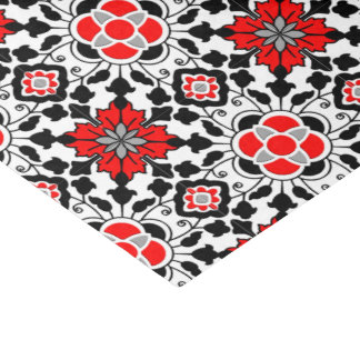 Floral Moroccan Tile, Deep Red, Black  and White Tissue Paper