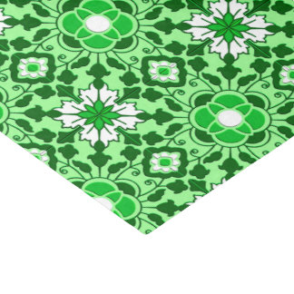Floral Moroccan Tile, Emerald and Lime Green Tissue Paper