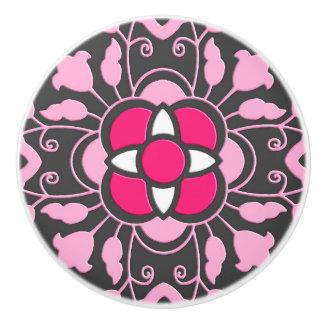 Floral Moroccan Tile, Fuchsia Pink & Gray / Grey Ceramic Knob
